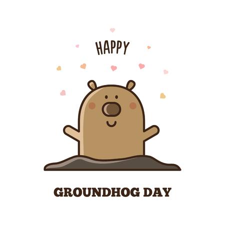 Feliz día de la marmota. Ilustración vectorial Foto de archivo - 92309329