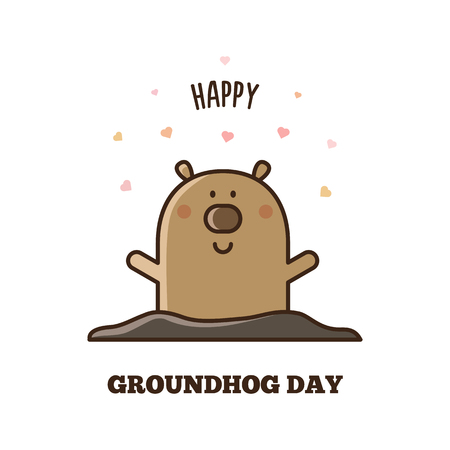 Happy Groundhog Day. Vector illustration.