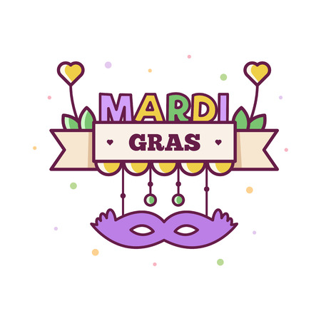 Mardi Gras. Vector illustration of a banner with mask and text. Stock Illustratie
