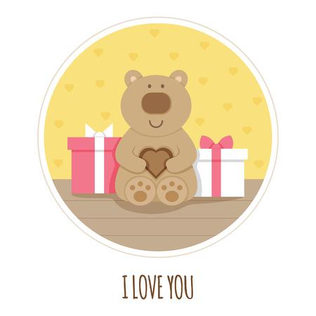 Eu te amo cartão urso de pelúcia ilustração em vetor de brinquedo e presentes. Foto de archivo - 93550167