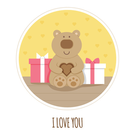 I love you card Teddy bear Vector illustration of toy and presents.