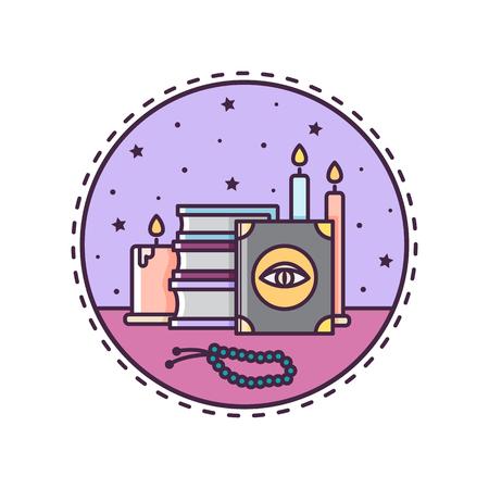Spellen boeken en kaarsen. Vector illustratie