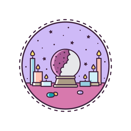 Crystal ball. Vector illustration. Vettoriali