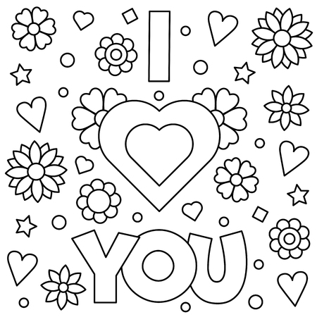 I love you. Coloring page. Vector illustration.  イラスト・ベクター素材