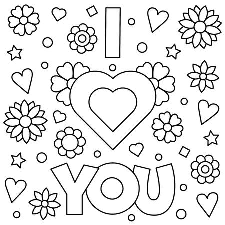 I love you. Coloring page. Vector illustration. Illustration