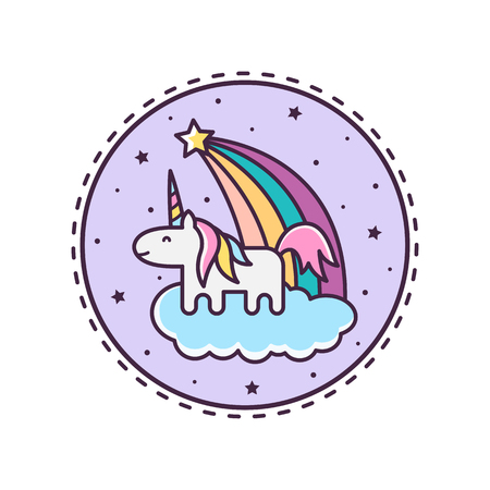 Cute Magical Unicorn. Vector illustration. Illustration
