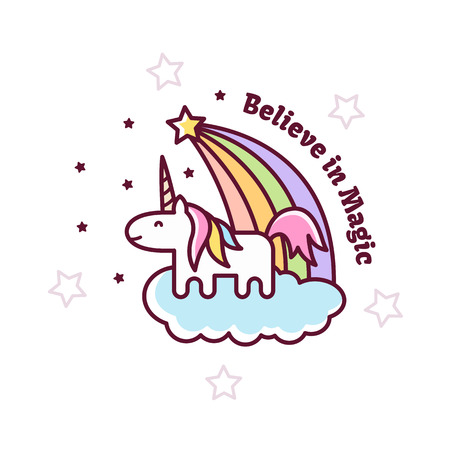 Cute Magical Unicorn. Vector illustration. Çizim