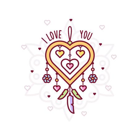 I love you. Dreamcatcher. Vector illustration. Ilustração