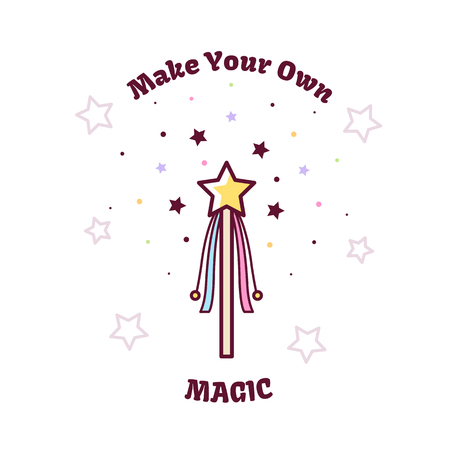 Magic wand. Vector illustration. Çizim