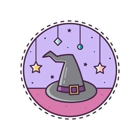 Witchs hat. Vector illustration. Illustration