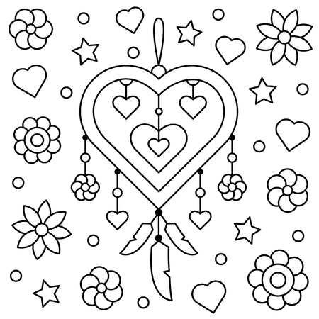 Dreamcatcher. Coloring page. Vector illustration.