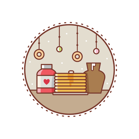 Pancakes with jam. Vector illustration.