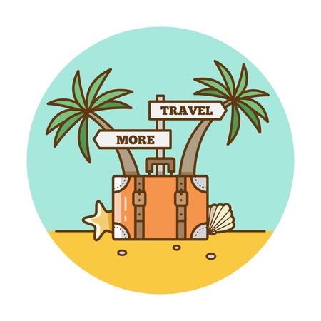 Travel more Vector illustration of suitcase and palm trees. Ilustrace