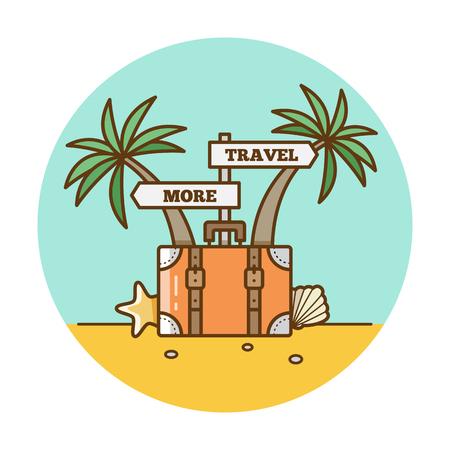 Voyage plus Illustration vectorielle de valise et de palmiers. Banque d'images - 94673835