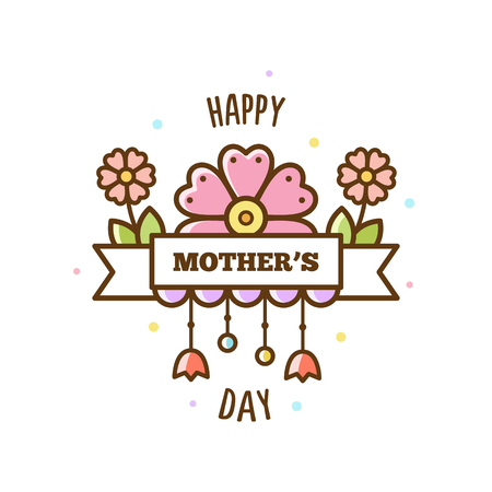 Happy Mothers Day. Vector illustration.