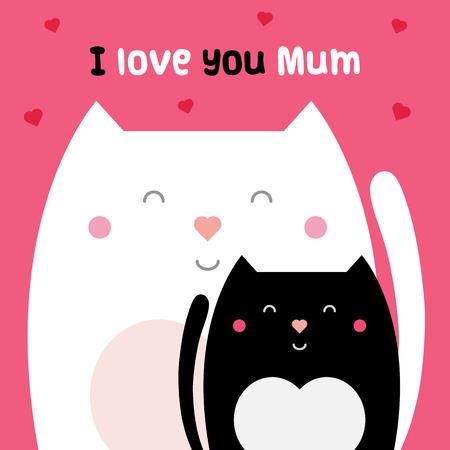 I love you mum. Vector illustration.  イラスト・ベクター素材