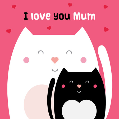 I love you mum. Vector illustration. Çizim