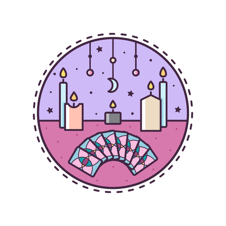 Candles and cards. Vector illustration.