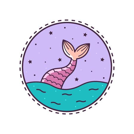 人魚の尾。ベクターの図。
