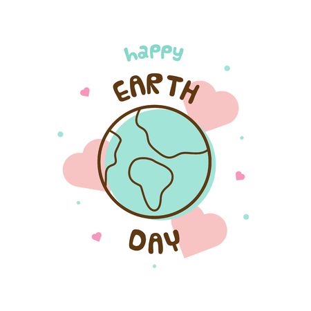 Happy Earth Day. Vector illustration of the planet.