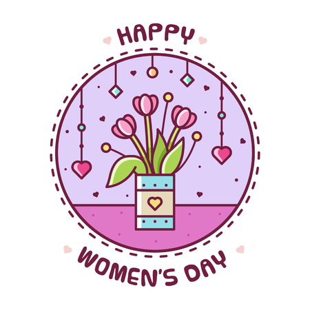 Happy Womens Day. Vector illustration of flowers.