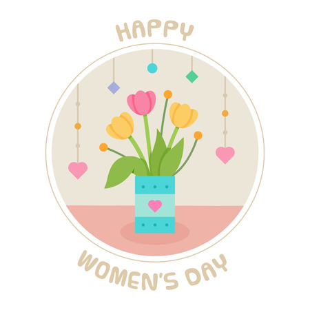 Happy Women's Day. Vector illustration of flowers.