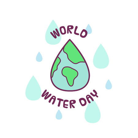 World Water Day. Vector illustration of Earth and drops. Stock Illustratie