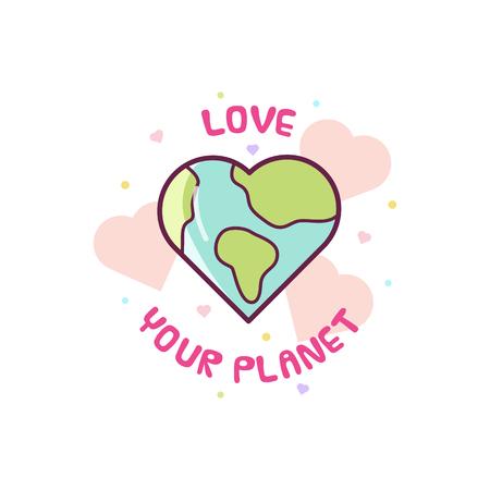 あなたの惑星を愛する。地球のベクトル図。