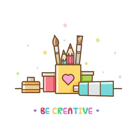 Art supplies. Vector illustration. Stock Photo
