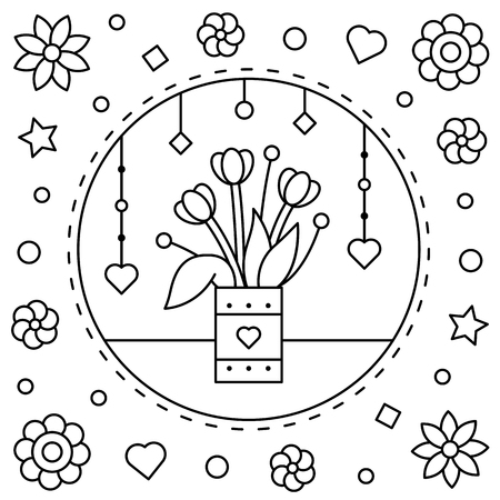 Flowers. Coloring page. Vector illustration.
