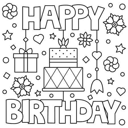 Happy Birthday. Coloring page. Vector illustration. Vettoriali