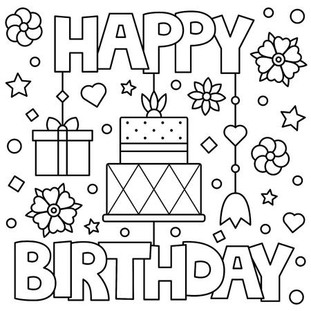 Happy Birthday. Coloring page. Vector illustration. Stock Illustratie