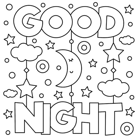 Good Night. Coloring page. Vector illustration. Archivio Fotografico - 96068018