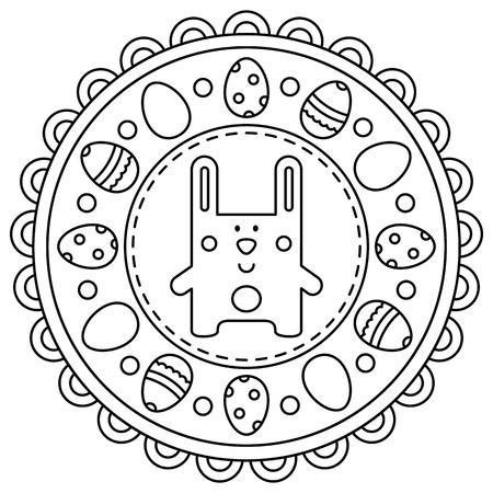 Easter mandala. Coloring page. Vector illustration.