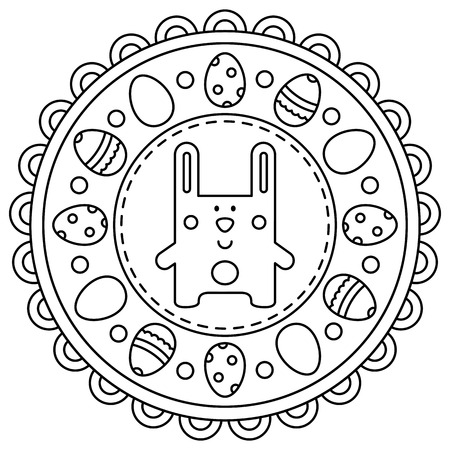 Easter mandala. Coloring page. Vector illustration.
