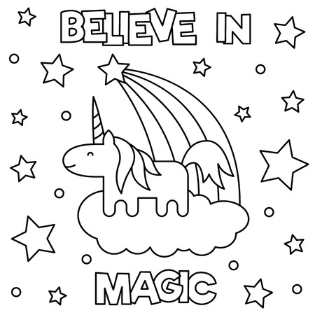 Unicorn. Coloring page. Vector illustration.