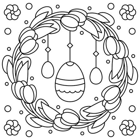 Blumenkranz Für Farbtonseite Mit Glücklichem Geburtstag