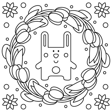 Easter rabbit. Coloring page. Vector illustration.