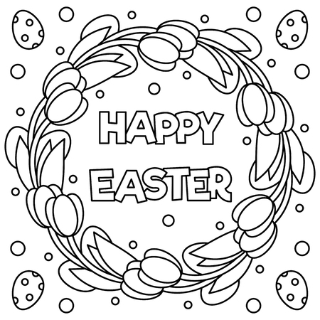 Happy Easter. Coloring page. Black and white vector illustration.