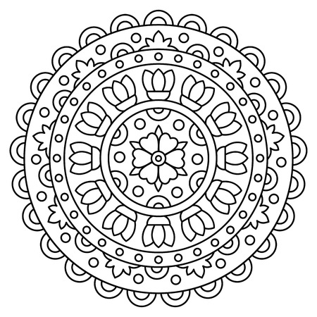 Mandala. Coloring page. Vector illustration. Çizim