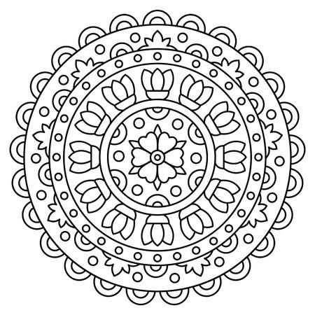 Mandala. Coloring page. Vector illustration. Vectores