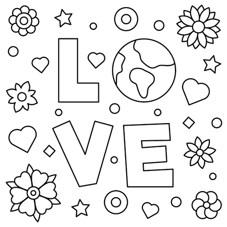 Coloring page. Vector illustration of love.