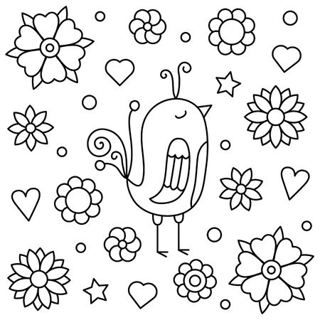 Coloring page. Vector illustration of a bird.