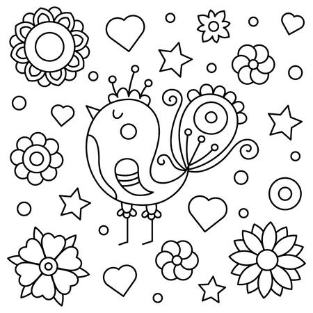 Ilustración de imagen de diseño de pollo y flores