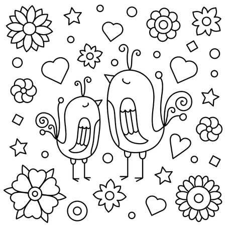 Chicken and flowers design image illustration Vectores