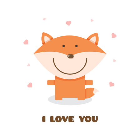 Fox design image with i love you text illustration Vettoriali