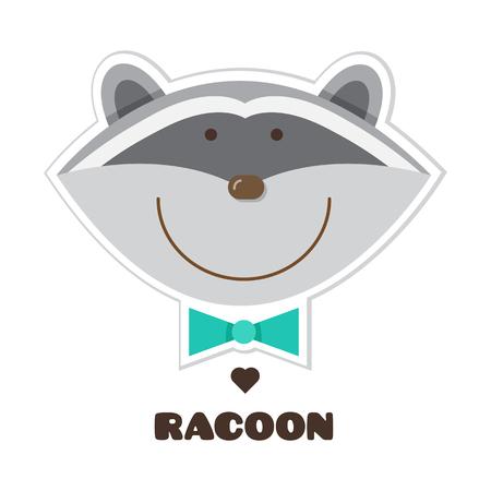 Racoon. Sticker. Vector illustration. Illustration