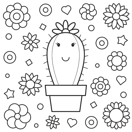 Coloring page. Vector illustration of a cactus. Vettoriali