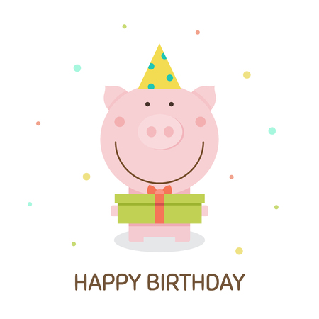 Happy Birthday vector illustration with pig holding a gift.