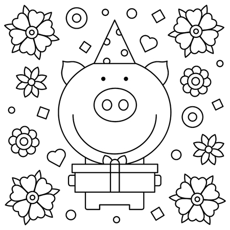Coloring page with pig and gift box . Vector illustration. Vectores